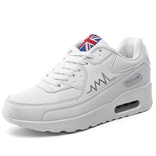 De Running Wealsex PU Zapatos blanco Correr Aire Asfalto En Mujer Mujer Deportes Para Libre Casuales Para Monta a Zapatos Zapatillas Cuero wBwWnqP1g7