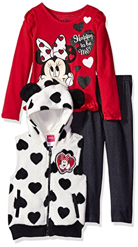 Disney Little Girls' Minnie Mouse Vest and Pant Set, Red, 6