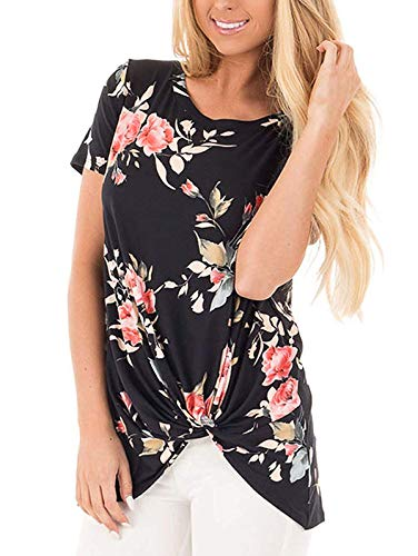 TEMOFON Casual Summer Loose Women's Tops Short Sleeve Fashion Twist Knotted Blouses Tunic T Shirt Floral Black XL