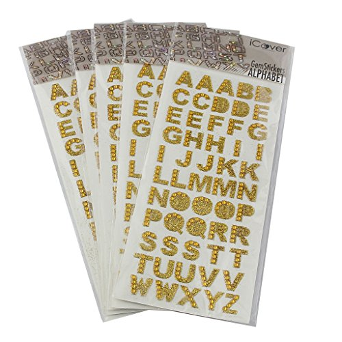 MagiDeal 5pcs Alphabet Acrylic Jewels Stickers Self Adhesive A-Z Words Gem Stick On Decorations - Gold, One Size
