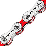 TAYA 11 Speed ONZE-111(UL) Bike Chain- Light Weight Color Chain, Siliver Bright Red, 116L Road Bike, Racing, Compatible with Shimano SRAM Drive Chain Derailleur