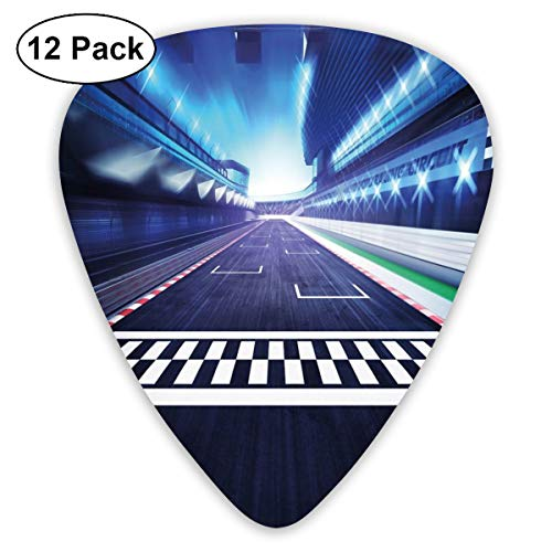 Guitar Picks 12-Pack,Finish Line On Racetrack Motion Blur Motorsports Competition Stadium Concept Image