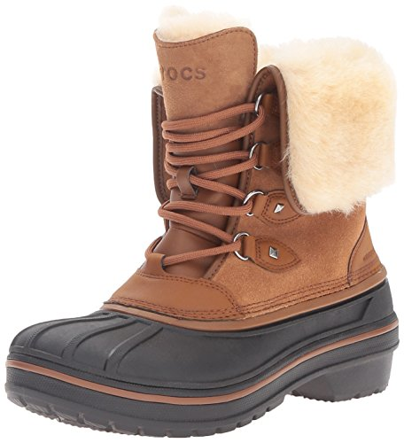 (crocs Women's AllCast II Luxe Snow Boot, Wheat, 9 M)