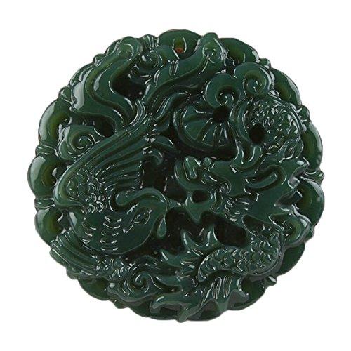 c1lint7785631 Natural Green Jade Hand Dragon Phoenix Pendant Necklace