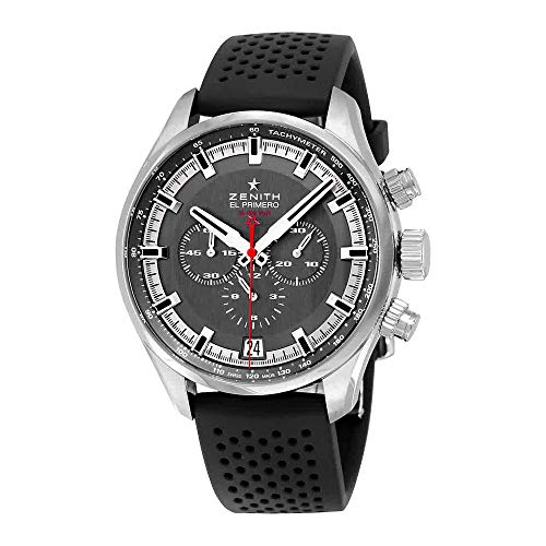 Zenith El Primero Chronograph Automatic Grey Dial Black Rubber Mens Watch 03228040091R576