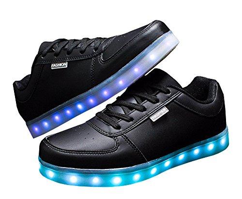 8d8bcca471a2d1 ... DELEY Unisex-Erwachsene Herren Damen USB Aufladen LED Leuchtend Schuhe  Bunte Blinkende Sneaker Schwarz