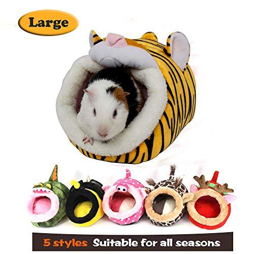 MYIDEA Warm Guinea Pigs Bed,Hedgehog Winter Nest,Rat Chinchillas & Small pet Animals Bed/Cube/House, Habitat, Lightweight, Durable, Portable, Cushion Big Mat (Small Pet – L, Tiger)
