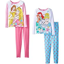 Disney Girls' Princess Gems and Royal Paws Four-Piece Pajama Set