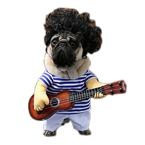 HuoGuo Funny Pet Guitar Player Cosplay Dog Costume Guitarist Dressing Up Party Christmas Halloween Clothes for Dog Cats Plus Wig/Bowtie Guitar Suit Plus Wig XL ()