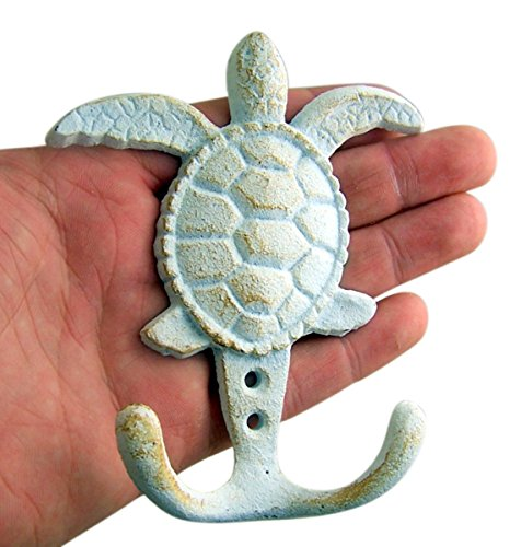 White Sea Turtle Cast Iron Wall Hook 4 5/8 Inch (Set of 3)