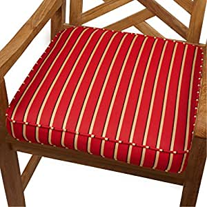 Mozaic Co. - Cojín para silla con diseño de rayas de color rojo y dorado, para interior y exterior, 48 cm