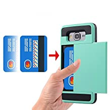 Grand prime Case,LUOLNH Impact Resistant Protective Shell Wallet Cover Shockproof Rubber Bumper Case Anti-scratches Hard Cover Skin with Card Slot Holder for Samsung Grand Prime / G530H/G5308W(Aqua)