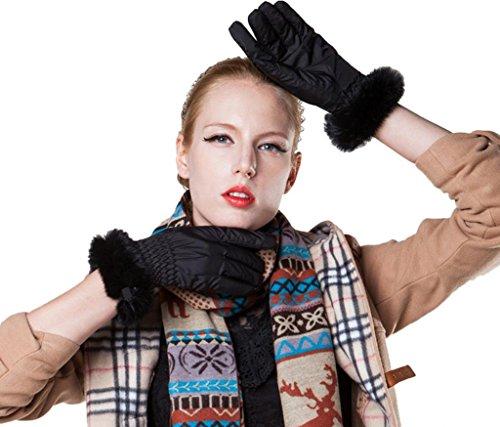 Fashion Guanti in Andyshi Warm Fur e Black Outdoor Rabbit Donna pile Rex morbido xaqqn5Y0
