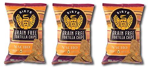 Siete Nacho Flavor Tortilla Chips, Grain Free, Paleo, Vegan - 5 Ounce (3 Pack)