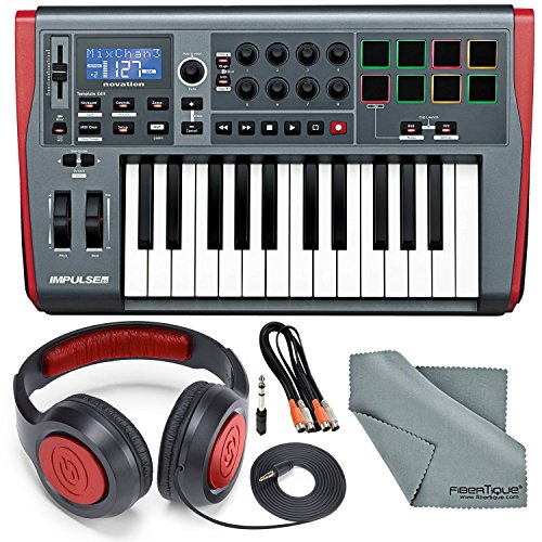 Novation Impulse 25 USB-MIDI Keyboard and Bundle with 2 MIDI to 2 MIDI (Dual) Cable + Samson Stereo Headphones…