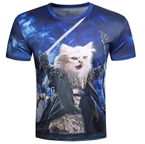 RXBC2011 Men's Short Sleeve Top 3D Printed Wizard Cats T Shirt M Blue