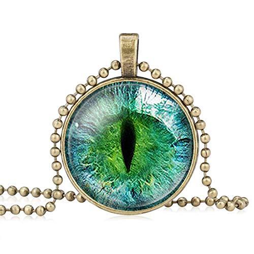 - FOY-MALL Fashion Retro Metal Glass Dragon Cat Eye Pendant Necklace for Children XL1479