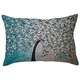Rectangle Pillow Cover, Kimloog Floral Print Cushion Case Hidden Zipper Closure Cotton Toss Pillowcases (A)