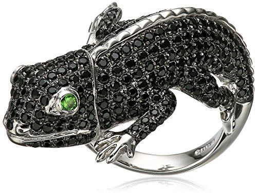 Sterling Silver Black Spinel And Tsavorite Lizard Ring, Size 7