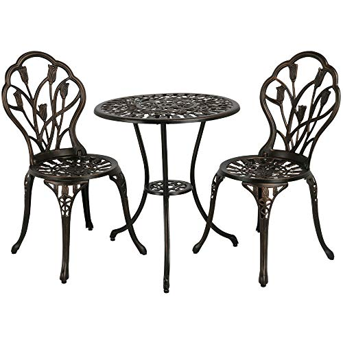 Cypress Shop Outdoor Bistro Patio Furniture Set Table Chair Armless Backrest High Back Seating Chairs Aluminum Construction Antique Finish Style Garden Deck Porch Lawn Backyard Patio Home -