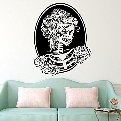 (ManxiVoo Happy Halloween Femme Skeleton Skull Wall Decals Stickers for Kids Rooms Nursery Halloween Party Supplies)