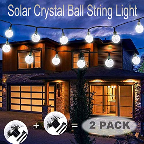 m·kvfa 2Pcs Solar Crystal Ball Waterproof String Lights Lighting Outdoor Solar Powered Fairy Lights Decorative Lights for Garden Home Landscape Patio Yard Wedding Festival Home Party