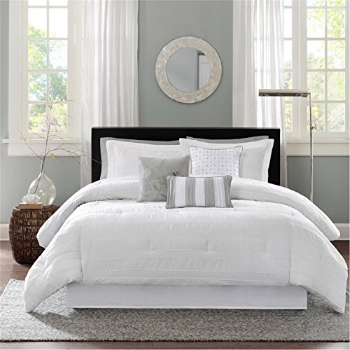 (Madison Park Hampton Queen Size Bed Comforter Set Bed in A Bag - White, Jacquard Pleated Stripes - 7 Pieces Bedding Sets - Ultra Soft Microfiber Bedroom Comforters)