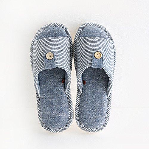 DogHaccd Zapatillas,El algodón y el lino zapatillas de verano indoor femenino pisos de madera y suaves, antideslizante home stay parejas de origen japonés durante la primavera y el otoño zapatillas ma Azul oscuro1