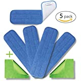 "18"" Microfiber Washable Mop Pads (5) - Commercial Grade Reusable Pad Set 450gsm eCloth Flat Replacement Heads For Wet Or Dry Floor Cleaning, Scrubbing, Childcare Supplies, Dusting by Microfiber Pros"