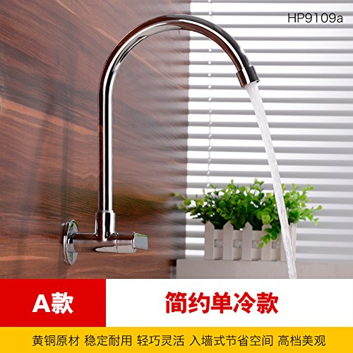 A Lpophy Bathroom Sink Mixer Taps Faucet Bath Waterfall Cold and Hot Water Tap for Washroom Bathroom and Kitchen in-Wall redary Single Cold Universal C