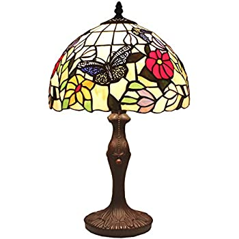 Bieye L11407 12 Inch Butterfly Tiffany Style Stained Glass Table Lamp With  Zinc Base, 18 Inch Tall