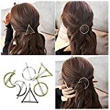 nykkola Minimalist Dainty Gold Silver Hollow Triangle Geometric Metal Hairpin Hair Clip (6 Piece)