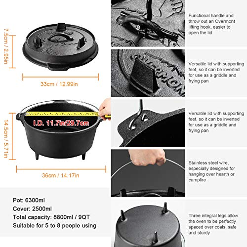 Overmont 9 Quart All-Round Dutch Oven【Dual Function : Lid Skillet】【with Lid Lifter】【Pre Seasoned】 Cast Iron Dutch Oven for Camping Cooking BBQ Baking by Overmont (Image #2)