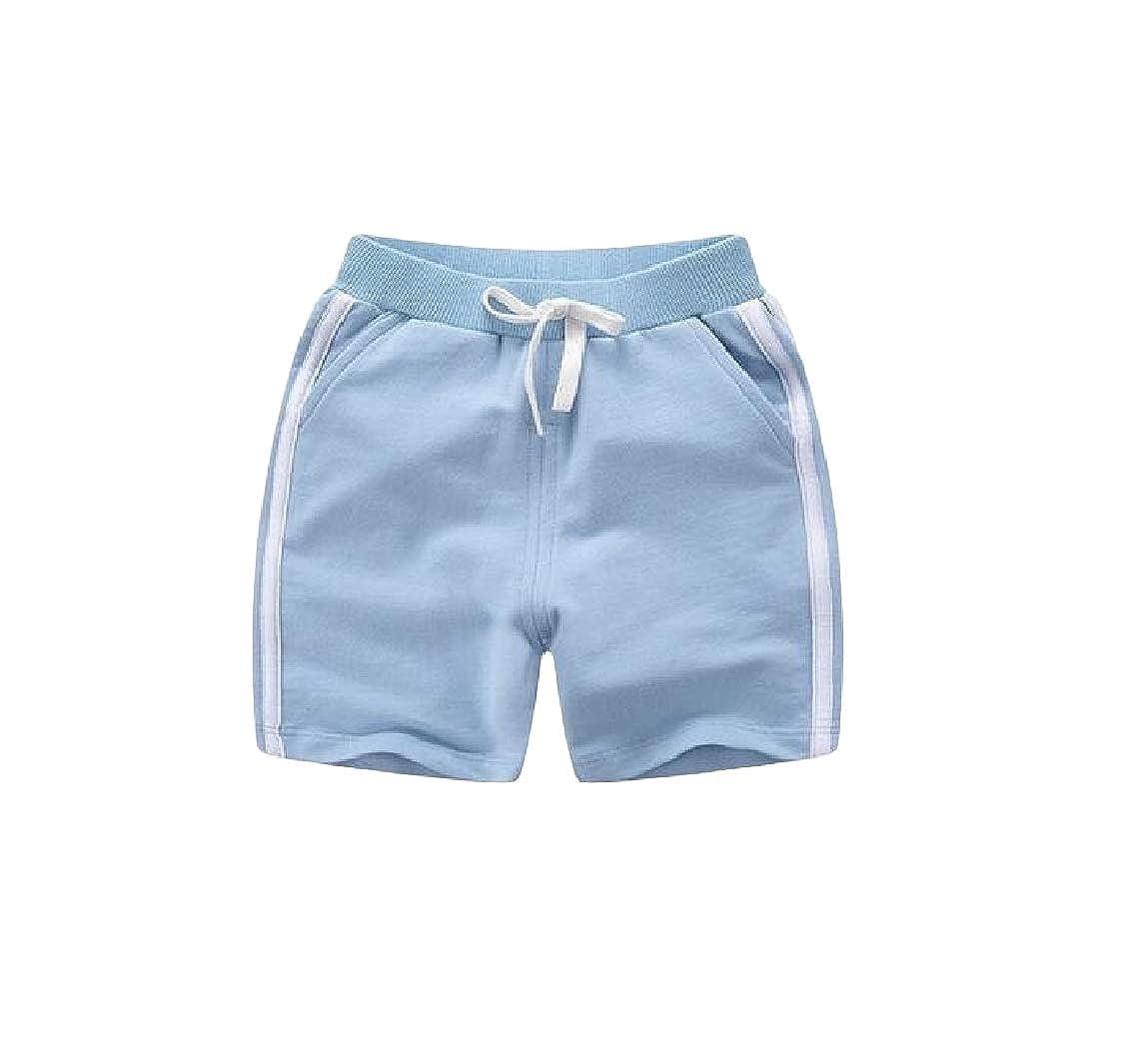 pipigo Girl Fit Striped Sport Cute Elastic Waist Short