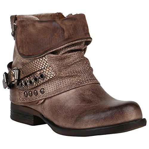 Stiefelparadies Gefütterte Damen Biker Boots Stiefeletten Winterschuhe Metallic Prints Nieten Schnallen Übergößen Schuhe Flandell Khaki Nieten