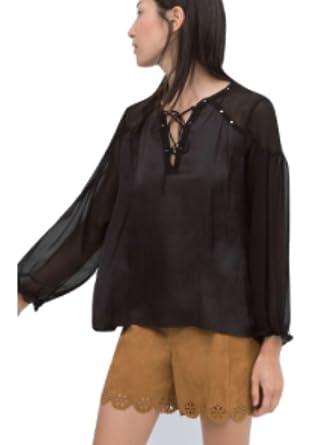 28559f2a Zara Studded Satin Blouse BNWT M Black at Amazon Women's Clothing store: