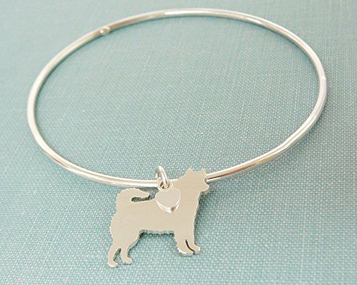 .925 Sterling Silver Siberian Husky Dog charm Bangle Bracelet Pet Memorial Jewelry