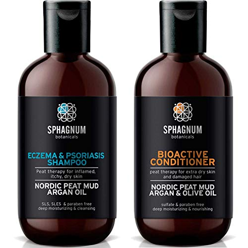 Psoriasis Shampoo and Conditioner Set - Complete Peat Mud Therapy for Itchy Scalp. Natural Healing Peat, Argan and Olive Oil Treatment 100% Free from Cancerous Coal Tar. For Both Men and Women.