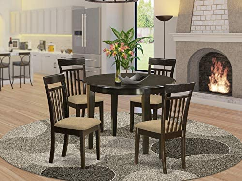 East West Furniture BOCA5-CAP-C Round Dinette Set 5 Piece