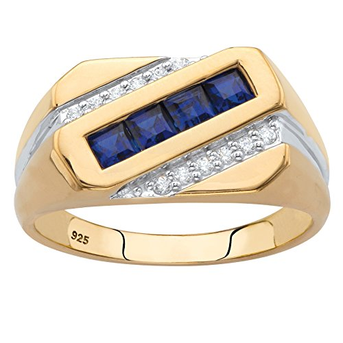 Men's 18K Yellow Gold over Sterling Silver Square Cut Blue Sapphire and Diamond Accent Ring Size 10