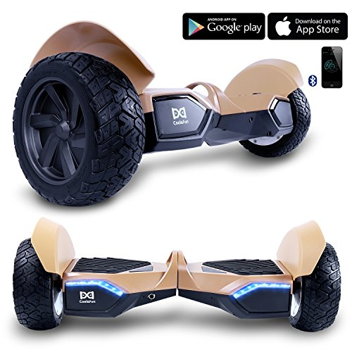 Cool Fun W8s Two Wheel Self Balance Scooter Off Road Hoverboard Safety Certified Ul 2272 Bluetooth Speakers 8 5 Inch All Terrain Road Condition  Gold