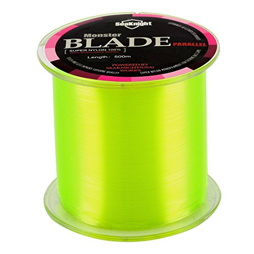 SeaKnight Monster Blade Monofilament Fishing Line 500m/547yds Japan Material Nylon Fishing Line Yellow 4LB/1.81KG/0.12mm/500 Meters (Neon Fishing Line)