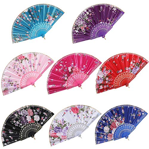 BABEYOND 8pcs Floral Folding Hand Fan Vintage Handheld Lace Folding Fan with Different Flower Patterns Fabric Folding Fan for Wedding Dancing Party (Color Random Selected with Chinese Rose)]()
