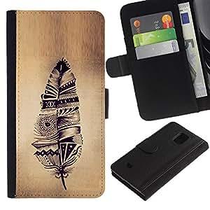 A-type (Feather Indian Native Parchment Rustic) Colorida Impresión Funda Cuero Monedero Caja Bolsa Cubierta Caja Piel Card Slots Para Samsung Galaxy S5 Mini (Not S5), SM-G800