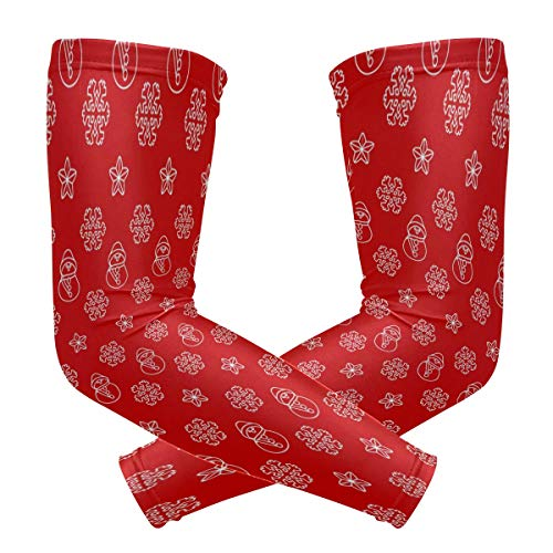 Fashion Sports Arm Supports Snowman Christmas Xmas Red Basketball Shooter Sleeves Sunscreen Cuff Stretched Fabric for Football, Volleyball, Baseball Protection, Youth & Adult Sizes(1 Pair)