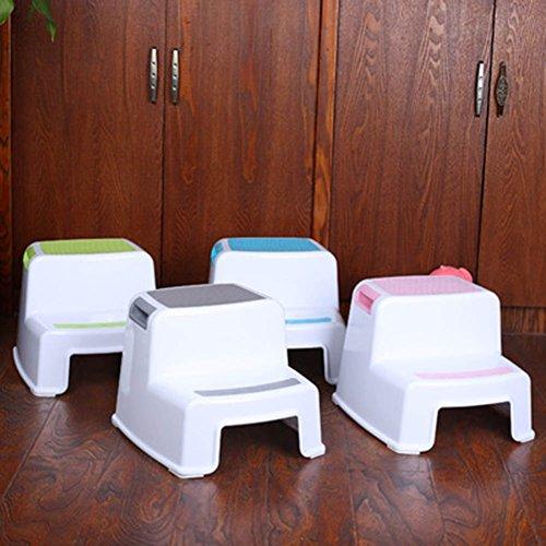 Yovvin Two-Step Plastic Stool Potty Safety Training Toilet Seat Anti-Skid Bathroom Stool Gray