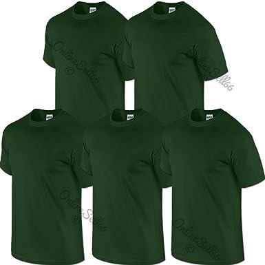 a6cf2431977114 Gildan 5 Pack Mens Forest Green Plain tshirts Bottle Womens Kids t shirt:  Amazon.co.uk: Clothing