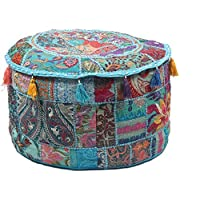 GANESHAM HANDICRAFTS Indian Home Decor Hippie Patchwork Bean Bag Stoel Cover Boho Bohemian Hand Geborduurd Etnische…