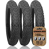 """3 x JEEP LIBERTY Suitable Stroller / Push Chair Tires to fit - 12 1/2"""" x 1.75 - 2 1/4 (Black) Super Grippy & Fast Rolling + FREE Upgraded Skyscape Metal Valve Caps (Worth $4.99)"""