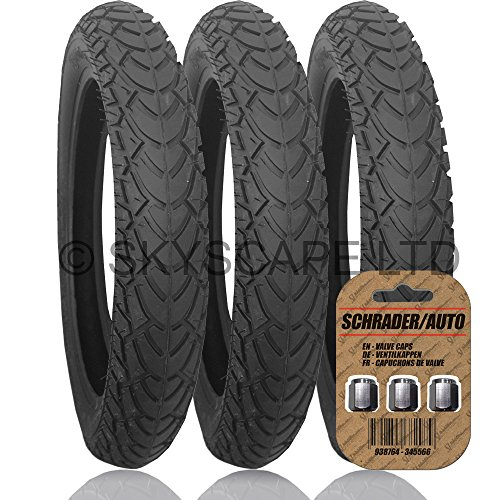 3 x TFK JOGGSTER Suitable Stroller / Push Chair / Buggy Tyres to fit - 12 1/2' x 1.75 - 2 1/4 (Black) Super Grippy & Fast Rolling + FREE Shipping + FREE Upgraded Skyscape Metal Valve Caps (Worth £3.99)